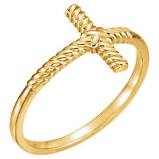 GOLD SALE - Size 7 - 14k Yellow Gold Rope Sideways Cross Ring Religious Jewelry