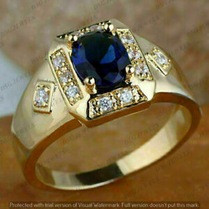 Men's 14K Yellow Gold Finish 2.2CT Oval Blue Sapphire Engagement Pinky Band Ring