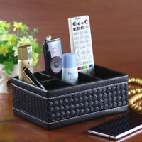Fashion PU Leather Remote Control Phone Desk Holder Home Organizer Storage Boxes