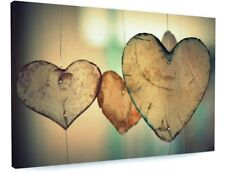 STUNNING WOODEN LOVE HEART CARVINGS CANVAS PICTURE PRINT CHUNKY FRAME #3754