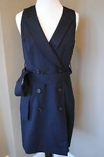NWT J Crew Petite Trench Dress in Super 120s NAVY Sz 6 6P A5073 $228