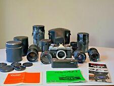 Fujica Az-1 35mm Slr Film Camera Body (4) lenses plus bag, accessories & manual