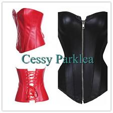 Black Red Faux Leather Punk Corset Bustier Boning Lace-up Back S-6XL 6-24