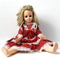 "Vintage 24"" Plastic Fashion Doll Blonde Hair Blue Sleepy Eyes"