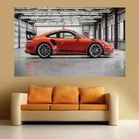 Porsche GT3 RS white A4 reproduction car poster with choice of frame