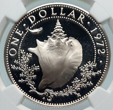 1972 BAHAMAS with CONCH SHELL Vintage OLD Proof Silver Dollar Coin NGC i85372