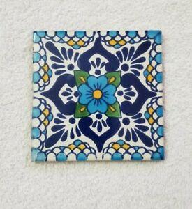 "Glossy ""Blue Blossom"" Mexican Talavera Ceramic Tiles 4 x 4"