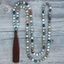 Long Tassel Matte Amazonite Beaded Necklace Jade Boho Beads Green Gemstone