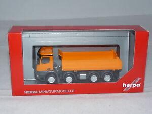 herpa 313599 Mercedes-Benz Arocs S 4-achs Meiller-Kipper - kommunalorange 1:8...