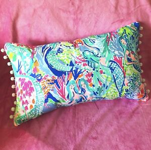 """New throw pillow made with LILLY PULITZER PB Mermaid Cove fabric 18""""x10"""""""