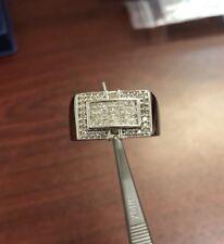 14k White Gold Men's Invisible Princess Cut Diamond Ring