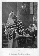 Polen, Juden in der Synagoge, Original-Holzstich von St. Grocholski von 1894