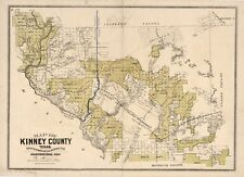 A4 Reprint of American Cities Towns States Map Kinney County Texas