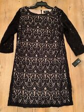 RN Studio Black Lace Shift Dress, NWT, Size 16