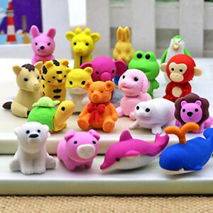 10Pcs Cute Animal Shaped Erasers Cartoon Design Eraser Stationery Collections