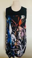 Ladies Size 5 (16) Ted Baker Dress, Sleeveless, Silky Abstract Leaf Black Print