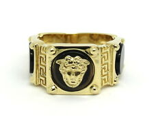 Genuine 18K VERSACE Medusa Head Greek Key 750 Gold Black Onyx Ring s 9-1/2