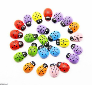 100Pcs/Lot Mini Cabochon Ladybug Fairy Garden Miniatures Garden Ornament Decor