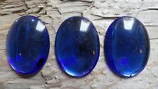 Cabochon GLASS Princess Gem Fun 30x40mm COBALT BLUE colored (pkg of 3)