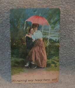 Antique Post Card Post Marked 1912 One Cent Stamp Man And Woman In Rain