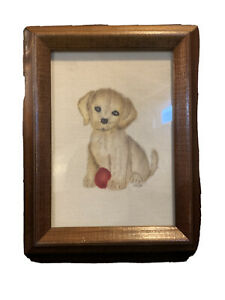 Handpainted Puppy In Brown Frame