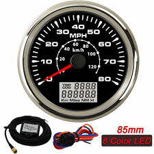 85mm GPS Speedometers 8 Colors Backlight 0-80MPH LCD Speed Odometers 0-120km/h