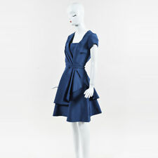 Oscar de la Renta Blue Silk Belted Short Sleeve Pleated & Flared Dress SZ 6