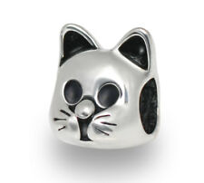Cat European Bead Silver Feline Kitten Charm For European Charm Bracelets