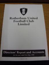 31/05/1998 Rotherham United Football Club: directores informe y cuentas para el