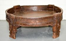 Timber Carved Chakki Stool Antique Coffee Table Boho Indian Moroccan