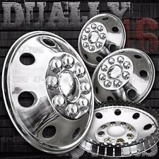 "16"" Stainless Steel Wheel Covers 8 Lug Hubcap Snap On For Chevy Silverado Dually"