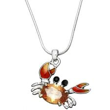 "Crab Charm Pendant Necklace - Sparkling Cubic Zirconia Crystal - 17"" Chain"