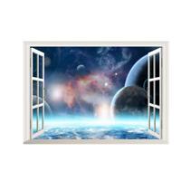 3D Weltraum Weltall Fenster Wandsticker Wandtattoo Wandaufkleber Aufkleber
