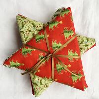 Christmas Fabrics bargain 5 fat 1/4 star bundle. Moda, Makower etc. 100% cotton