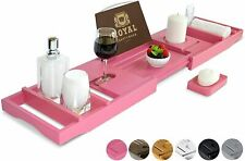 Pink Luxury Bathtub Caddy Tray, One or Two Person Bath and Bed Tray, Free Soap