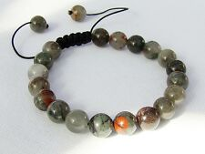 Natural Gemstone Men's Shamballa bracelet all 10mm African Bloodstone beads