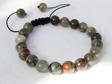 Natural Gemstone Homme Shamballa Bracelet tous 10 mm African jaspe sanguin Perles