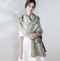 """WOMEN 100% MULBERRY SILK LONG72""""L44""""W SCARF SHAWL LADIES SOFT JACQUARED Gift New"""
