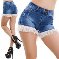 Pantaloncini donna jeans shorts frange vita alta pinup hotpants sexy nuovi F006