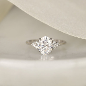 2.28 TCW Oval Cut Moissanite Solitaire Engagement Ring In 14k White Gold Plated