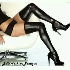 Sexy Black Metallic Wet Look Shiny PU Stockings Hold Ups £7.99 8 10 12