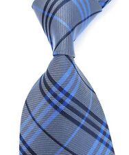 Silk Striped New Tie Men's Classic Necktie 2016 Plaids & Checks Gray Blue Black