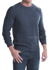 $380 NEW ELLIOT MULRYAN BLUE CABLE KNIT 2-PLY CASHMERE SWEATER MENS XL X-LARGE