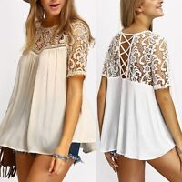 Summer Women Sexy Backless Lace Up T-Shirt Short Sleeve Loose Tops Casual Blouse
