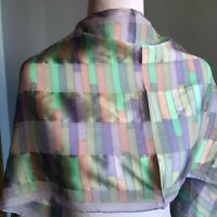"Vintage 58"" Pastel Purple Pink Green Bill Blass Scarf Color Block 80s 90s Silky"