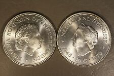 Pair (2) of 1970 Netherlands 10 Guldens Silver BU     ** FREE U.S. SHIPPING **