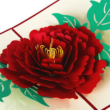 3D Pop Up Greeting Cards Peony Mother's day Birthday Valentines Xmas Thanks Gift