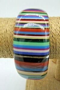 Vintage Multi-Coloured Striped Lucite Bangle