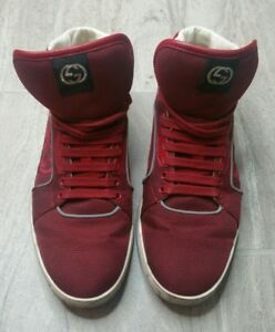 Mens Gucci High Top Lace up Sneaker Size 9.5G Retail $599 309517