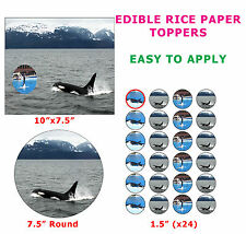 Killer Whale Orca Marine Mammal Cake/Cupcake Topper On Edible Rice Paper